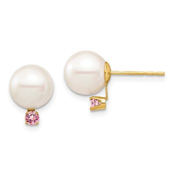 14K 8-8.5mm White Round Freshwater Cultured Pearl Pink Topaz Post Earrings