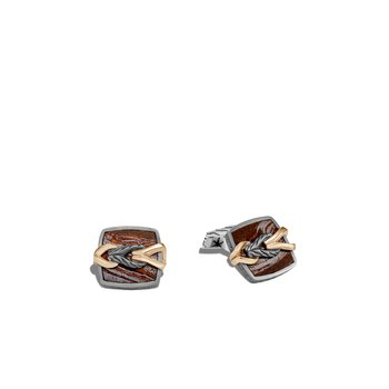 Asli Classic Chain Link Cufflinks, Blackened Silver, Bronze, Gem