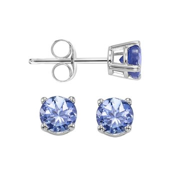 Four Prong Tanzanite Studs in 14K White Gold (4 MM)
