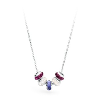 316L stainless steel, white, amethyst and tanzanite Swarovski® Elements crystals.
