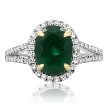 Cathedral Set Emerald Halo Ring