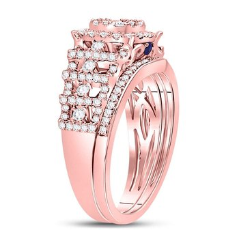 14kt Rose Gold Womens Round Diamond Vintage-inspired Bridal Wedding Engagement Ring Band Set 1.00 Cttw