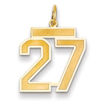 14k Medium Satin Number 27 Charm