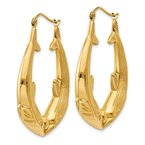 Quality Gold 14k Polished Dolphin Hoop Earrings