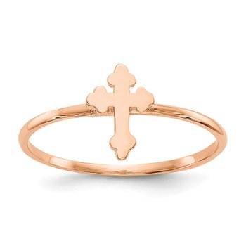 14k Rose Gold Polished Cross Ring