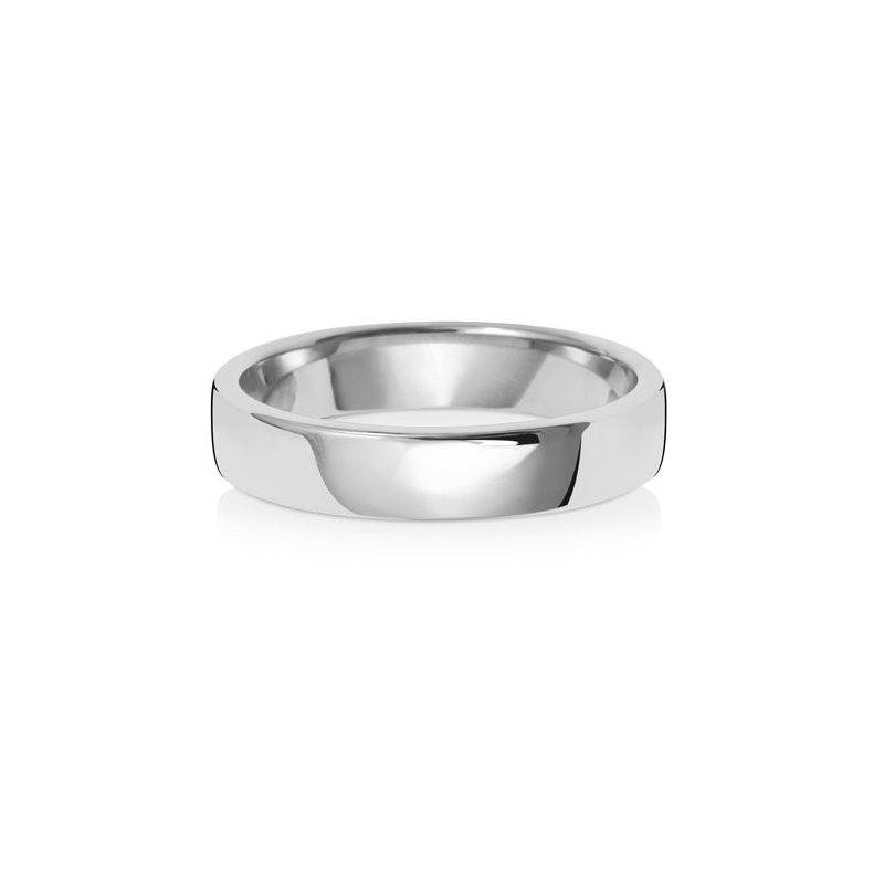 Treasure 9Ct White Gold 4mm Soft Court Wedding Ring