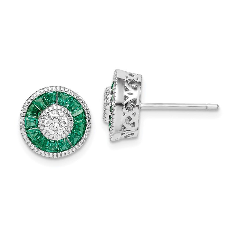 Quality Gold Sterling Silver Rhodium-plated CZ and Lab Cr.Green Spinel Earrings