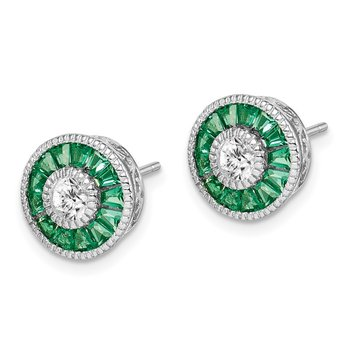 Sterling Silver Rhodium-plated CZ and Lab Cr.Green Spinel Earrings