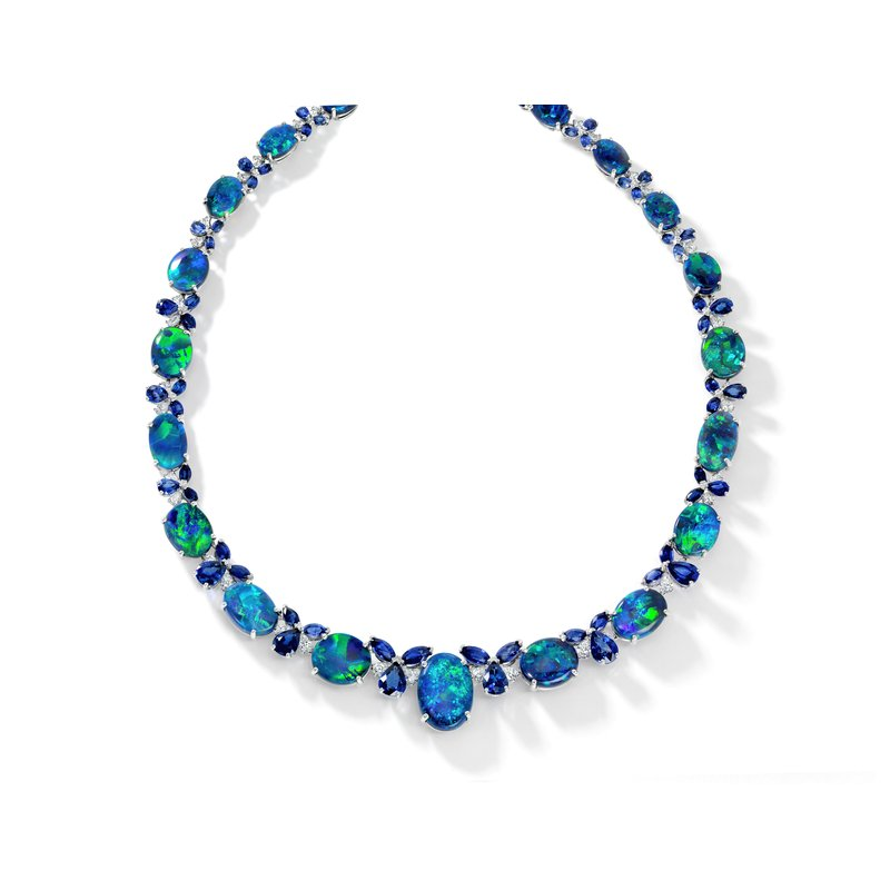 Oscar Heyman Platinum Black Opal Necklace