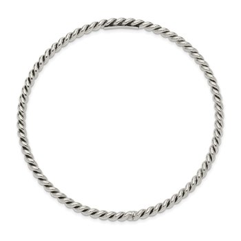 Sterling Silver Antiqued 3mm Twisted Slip-on Bangle