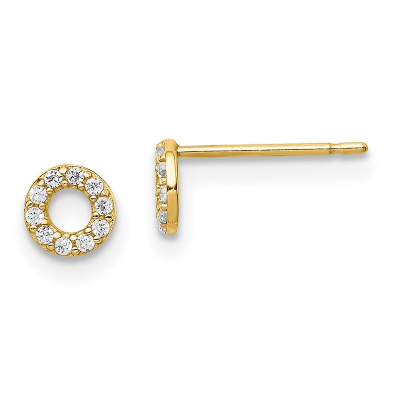 Quality Gold 14k Yellow Gold Madi K Circle CZ Post Earrings