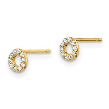 14k Yellow Gold Madi K Circle CZ Post Earrings