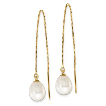 14k 7-8mm White Teardrop FW Cultured Pearl Box Chain Threader Earrings