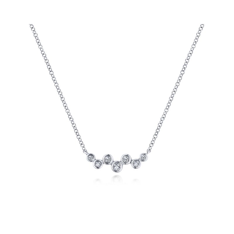 Amavida 14K White Gold Zig Zag Round Diamond Bar Necklace