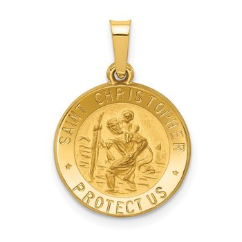 14k Polished and Satin St. Christopher Medal Hollow Pendant