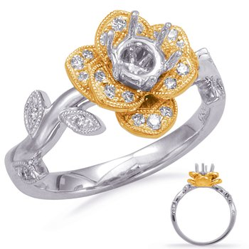 White & Yellow Gold Halo Engagement Ring