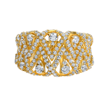14K criss cross design ring featuring 183 diamonds 1.37CT