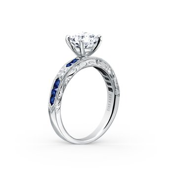 Blue Sapphire Diamond Solitare Engagement Ring