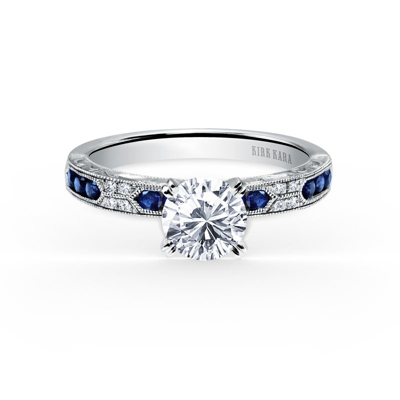 Kirk Kara Blue Sapphire Diamond Solitare Engagement Ring