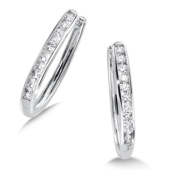 Channel set Diamond Oval Hoops in 14k White Gold (3/4 ct. tw.) JK/I1