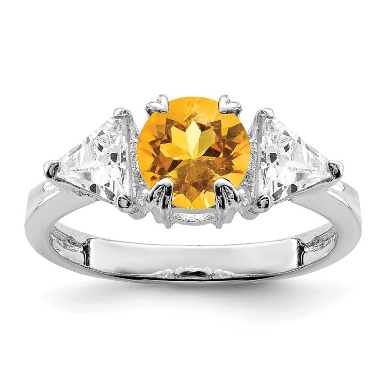 Quality Gold Sterling Silver Rhodium Citrine ring