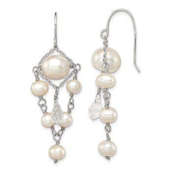 Sterling Silver RH 5-10mm FWC Pearls/Swarovski Cryst. Dangle Earrings