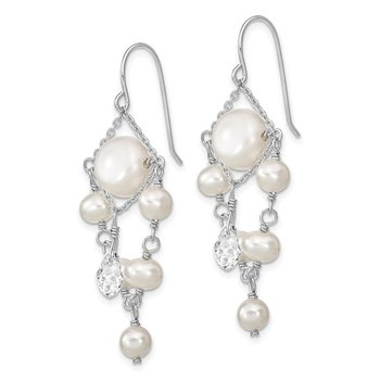 Sterling Silver Rhodium-plated 5-10mm FWC Pearl/Swarovski Crystal Earrings