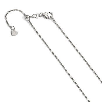 Leslie's 14K White Gold 1.25 mm Adjustable Diamond-cut Cable Chain