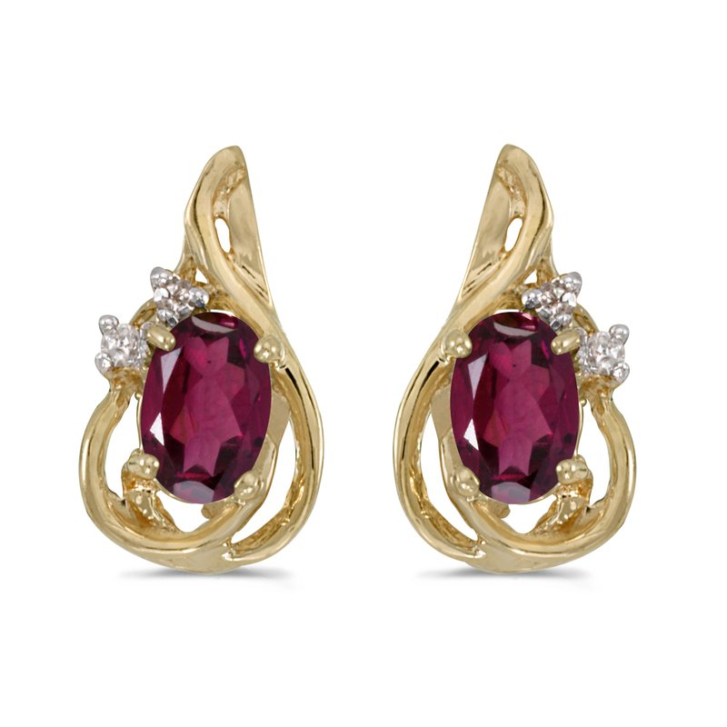 Color Merchants 10k Yellow Gold Oval Rhodolite Garnet And Diamond Teardrop Earrings