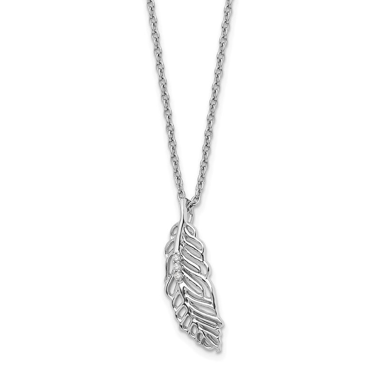 Quality Gold SS White Ice Diamond Feather 18in w/2in EXT Necklace