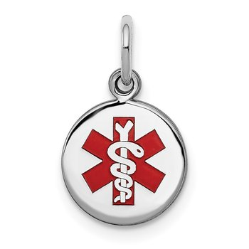 Sterling Silver Rhodium-plated Medical Charm