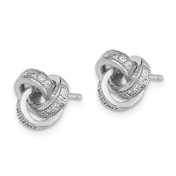 Sterling Silver Rhodium-plated Polished CZ Love Knot Post Earrings