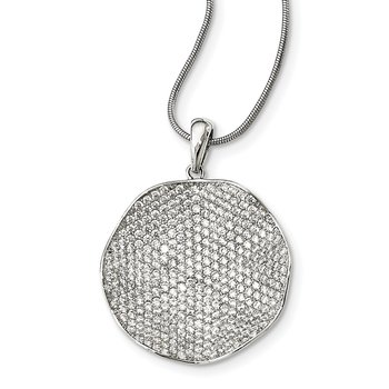 Sterling Silver CZ Brilliant Embers Concave Circle Necklace