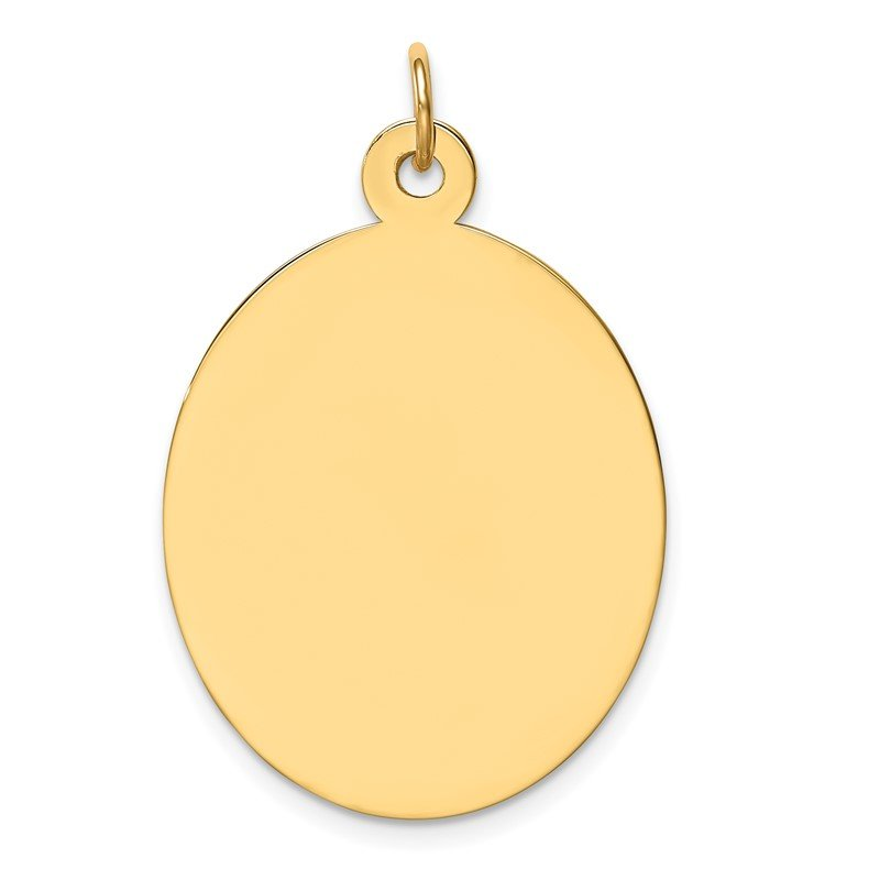 Quality Gold 14k Plain .027 Gauge Engravable Oval Disc Charm