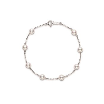 Akoya Cultured Pearl Station Bracelet - 18 karat White Gold