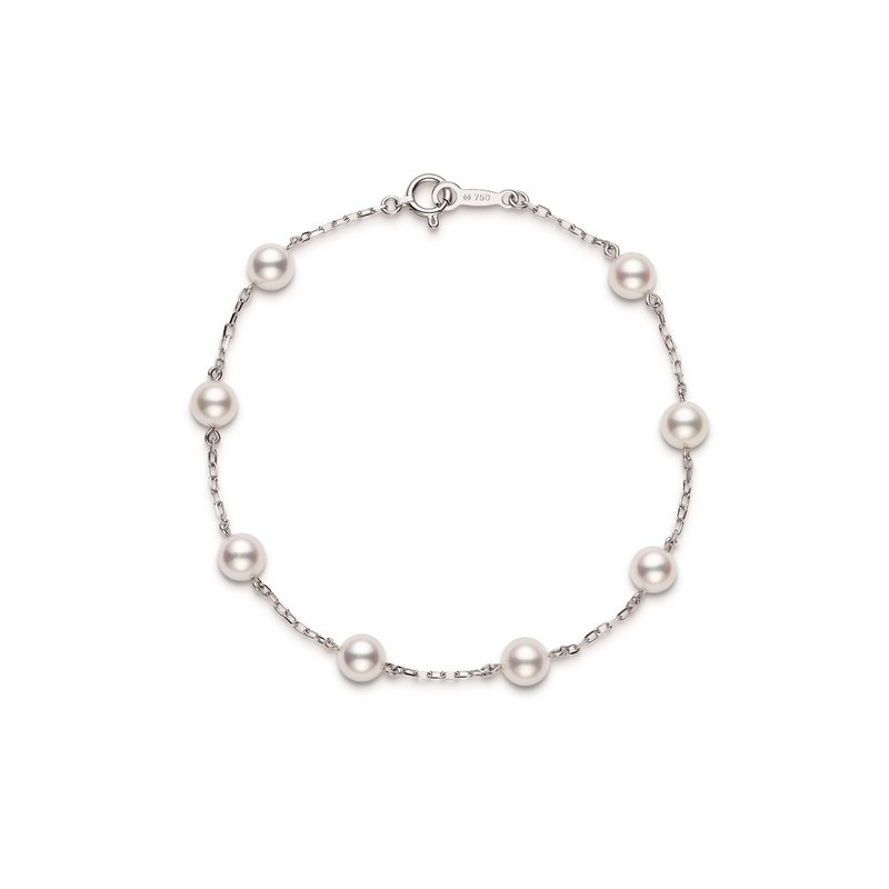Mikimoto Akoya Cultured Pearl Station Bracelet - 18 karat White Gold