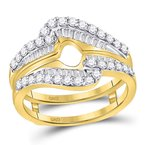 Gold-N-Diamonds, Inc. (Atlanta) 14kt Yellow Gold Womens Round Diamond Wrap Ring Guard Enhancer Wedding Band 3/4 Cttw
