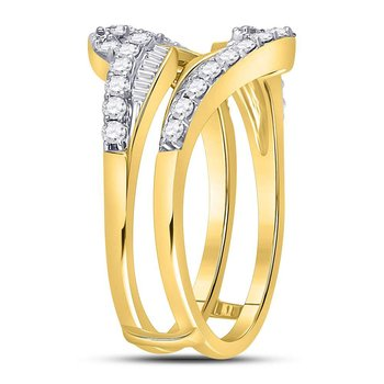 14kt Yellow Gold Womens Round Diamond Wrap Ring Guard Enhancer Wedding Band 3/4 Cttw