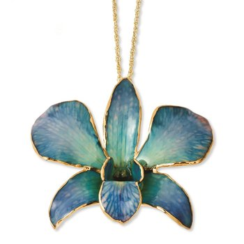 24K Gold-trim Lacquer Dipped Blue/Purple Dendrobium Orchid Necklace