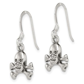 Sterling Silver Skull & Bones Dangle Earrings