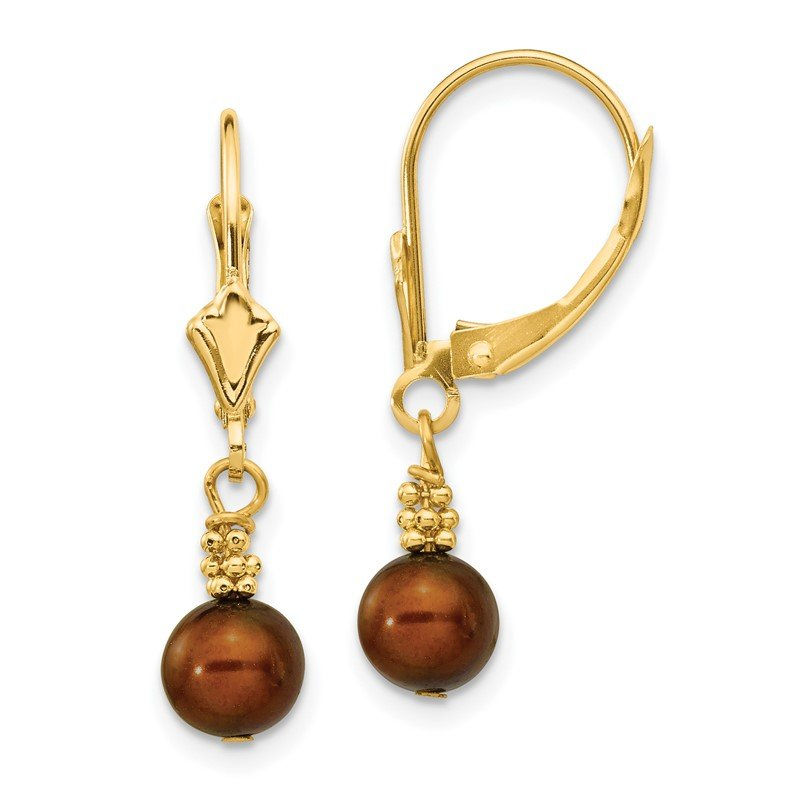 Quality Gold 14K 5-6mm Coffee Brown Semi-round FW Cultured Pearl Leverback Earrings