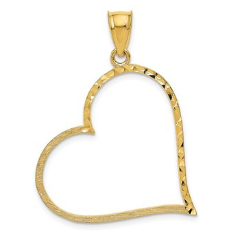 14K Satin Diamond-cut Crooked Heart Pendant