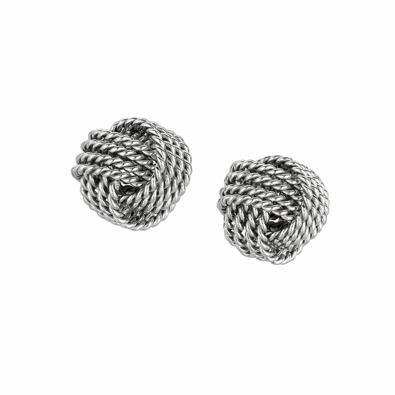 Royal Chain Silver Cable Love Knot Earring
