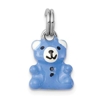 Sterling Silver Rhodium-platedBlue & Enamel Teddy Bear Charm