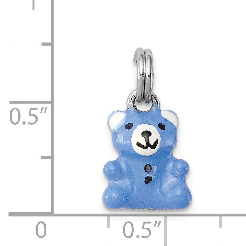 Quality Gold Sterling Silver Rhodium-platedBlue & Enamel Teddy Bear Charm