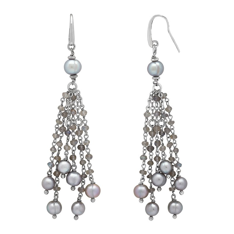 Honora Honora Sterling Silver 6-8mm Gray Ring Freshwater Cultured Pearl Faceted Labradorite Tassle Earrings