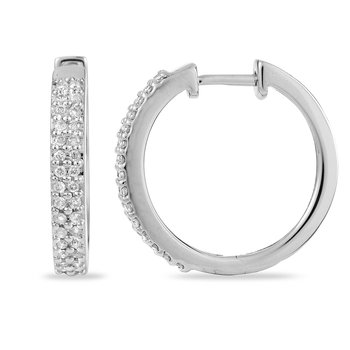 14K WG Diamond Hoops 2 Row Earring