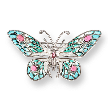 Sterling Silver Butterfly Brooch-Turquoise.  Diamonds, Pink Tourmaline.
