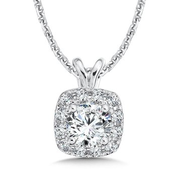 Diamond Cushion Halo Pendant with Split Bale in 14K White Gold (1/2ct. tw.)