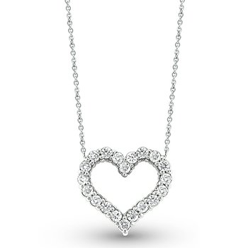 Diamond Heart Necklace in 14K White Gold with 20 Diamonds Weighing  .6ct tw